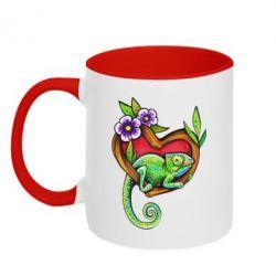 Кружка двухцветная 320ml Chameleon on a branch