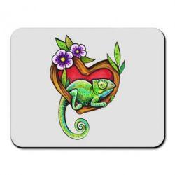 Коврик для мыши Chameleon on a branch