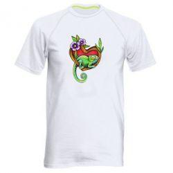 Мужская спортивная футболка Chameleon on a branch