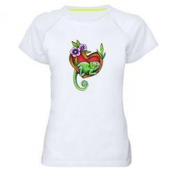 Женская спортивная футболка Chameleon on a branch