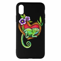 Чохол для iPhone X/Xs Chameleon on a branch