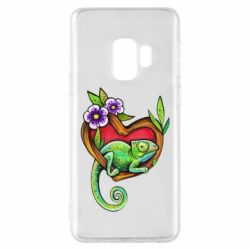 Чохол для Samsung S9 Chameleon on a branch