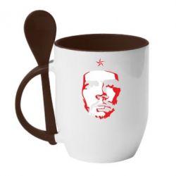 Кружка з керамічною ложкою Che Guevara face