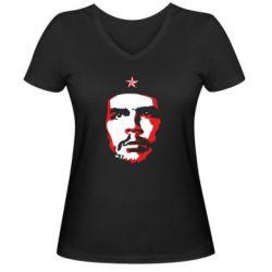 Жіноча футболка з V-подібним вирізом Che Guevara face