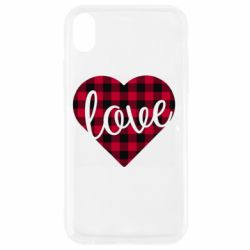 Чехол для iPhone XR Checkered heart with the inscription Love
