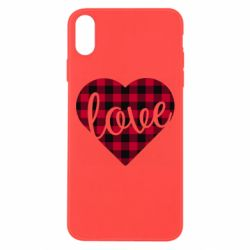 Чехол для iPhone Xs Max Checkered heart with the inscription Love