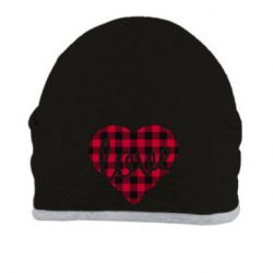 Шапка Checkered heart with the inscription Love