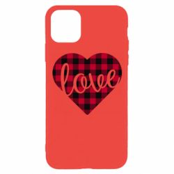 Чехол для iPhone 11 Pro Checkered heart with the inscription Love