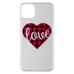 Чехол для iPhone 11 Pro Max Checkered heart with the inscription Love