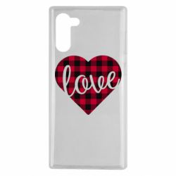 Чехол для Samsung Note 10 Checkered heart with the inscription Love