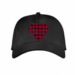 Детская кепка Checkered heart with the inscription Love