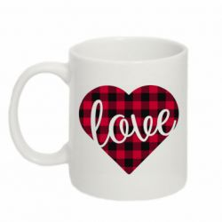 Кружка 320ml Checkered heart with the inscription Love