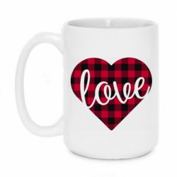 Кружка 420ml Checkered heart with the inscription Love