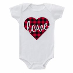 Детский бодик Checkered heart with the inscription Love