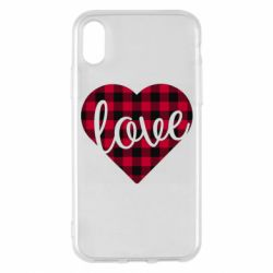 Чехол для iPhone X/Xs Checkered heart with the inscription Love