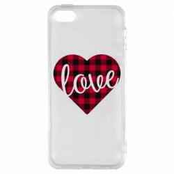 Чехол для iPhone5/5S/SE Checkered heart with the inscription Love
