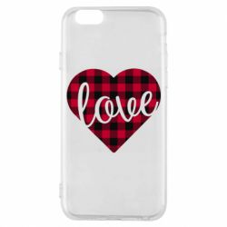 Чехол для iPhone 6/6S Checkered heart with the inscription Love