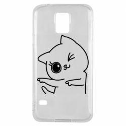 Чехол для Samsung S5 Cheerful kitten