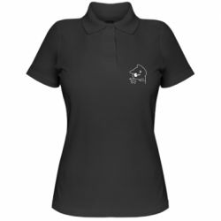 Женская футболка поло Cheerful kitten