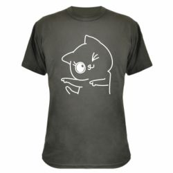 Камуфляжная футболка Cheerful kitten