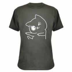 Камуфляжна футболка Cheerful kitten