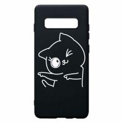 Чехол для Samsung S10+ Cheerful kitten