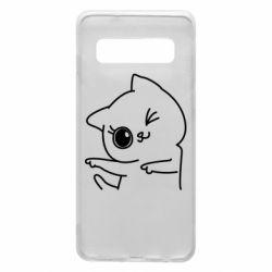 Чехол для Samsung S10 Cheerful kitten