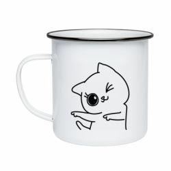 Кружка емальована Cheerful kitten