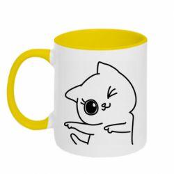 Кружка двухцветная 320ml Cheerful kitten