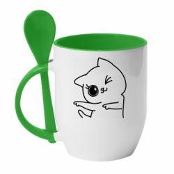 Кружка с керамической ложкой Cheerful kitten