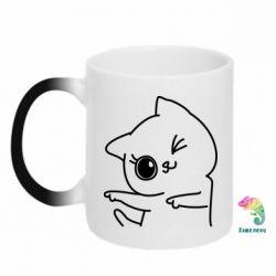 Кружка-хамелеон Cheerful kitten