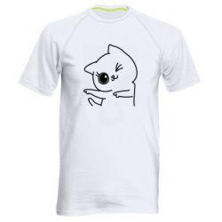 Мужская спортивная футболка Cheerful kitten