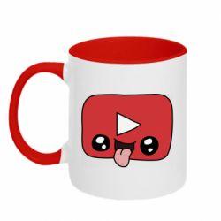 Кружка двоколірна 320ml Cheerful YouTube