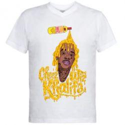 Мужская футболка  с V-образным вырезом Cheez Wiz Khalifa