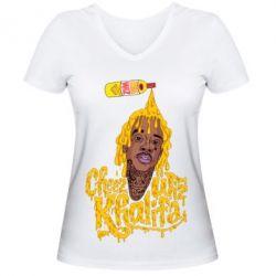 Женская футболка с V-образным вырезом Cheez Wiz Khalifa