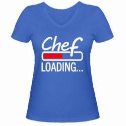 Женская футболка с V-образным вырезом Chef loading