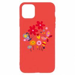 Чехол для iPhone 11 Pro Flowers and Butterflies