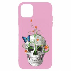 Чехол для iPhone 11 Pro Max Skull and green flower