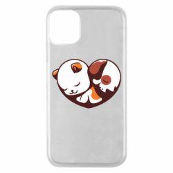 Чохол для iPhone 11 Pro Сердечко. Котик и собачка