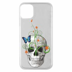 Чехол для iPhone 11 Pro Skull and green flower