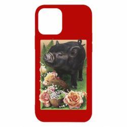 Чехол для iPhone 12/12 Pro Black pig and flowers