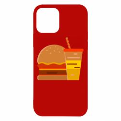 Чехол для iPhone 12/12 Pro Burger and drink vector