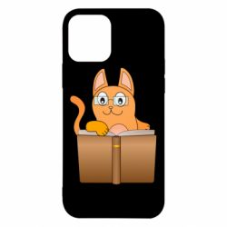 Чехол для iPhone 12/12 Pro Cat in glasses with a book