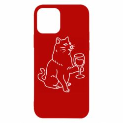 Чохол для iPhone 12/12 Pro Cat with a glass of wine