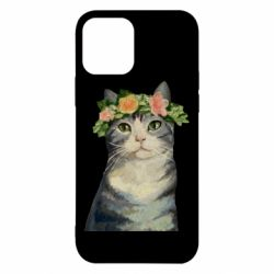 Чехол для iPhone 12/12 Pro Cat with a wreath of art oil