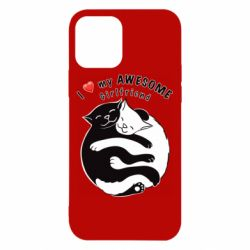 Чехол для iPhone 12/12 Pro Cats with red heart