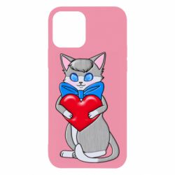 Чехол для iPhone 12/12 Pro Cute kitten with a heart in its paws