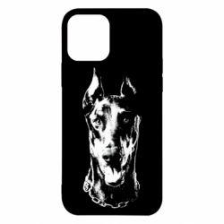 Чохол для iPhone 12 Доберман чорний
