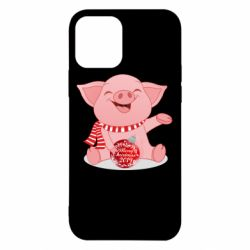 Чохол для iPhone 12/12 Pro Funny pig with a Christmas toy