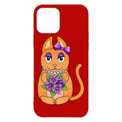 Чехол для iPhone 12/12 Pro Girl cat with flowers